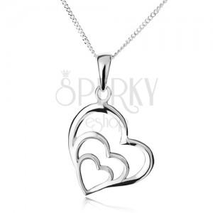 Náhrdelník - řetízek a tři nesouměrné obrysy srdcí, stříbro 925