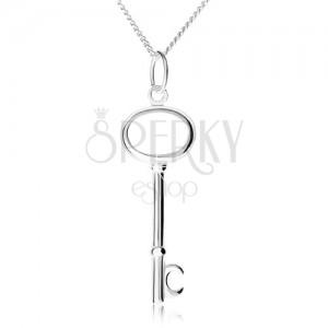 Stříbrný 925 náhrdelník, řetízek a přívěsek ve tvaru klíče
