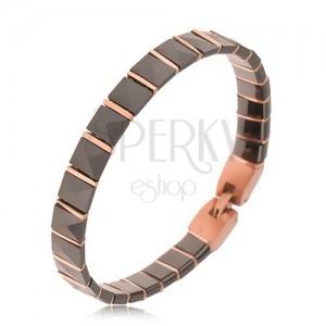 Černý keramický náramek, pyramidové články, proužky růžovozlaté barvy