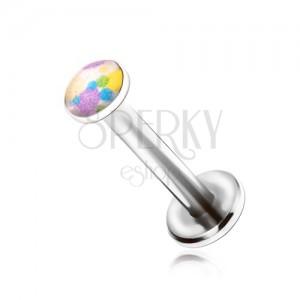 Ocelový piercing do brady, barevné kaňky