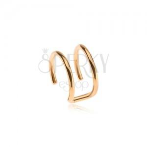 Falešný piercing do ucha z oceli, dvojitý kroužek zlaté barvy