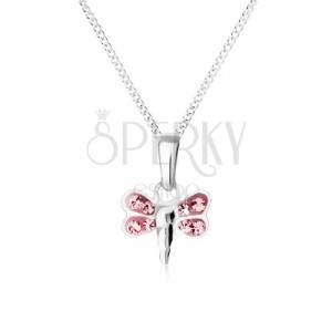 Náhrdelník s přívěskem ve tvaru vážky s růžovými zirkonovými křídly, stříbro 925