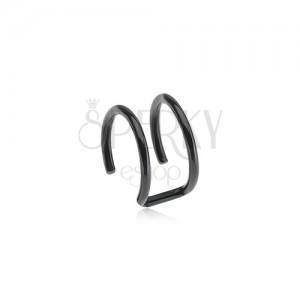 Ocelový fake piercing do ucha černé barvy - dva kroužky