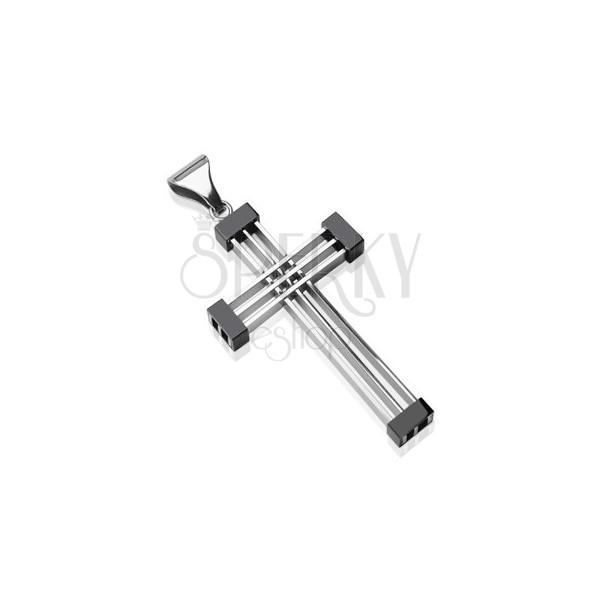 Přívěsek z chirurgické oceli - kříž mrížkovaný