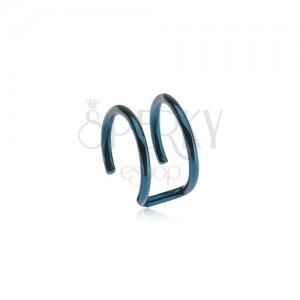 Fake piercing do ucha z oceli - dva kroužky modré barvy