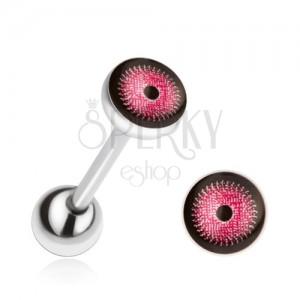 Ocelový piercing do jazyka, růžovo-černé oko