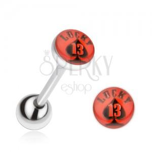 Piercing do jazyka z oceli, červeno-černý obrázek Lucky 13