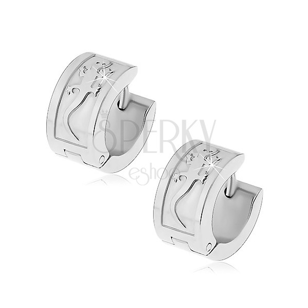 Ocelové náušnice stříbrné barvy s velkou ještěrkou, kloubové zapínání