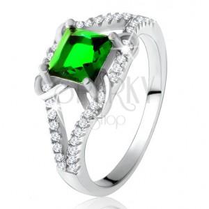 Prsten ze stříbra 925, čtvercový zelený zirkon, rozdvojená ramena, X