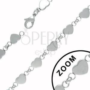 Řetízek z oceli tvořený srdíčky