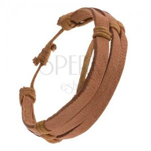 Náramek - oříškové kožené pásky, khaki šňůrky
