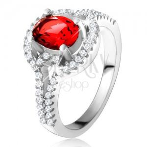 Prsten s červeným oválným zirkonem, rozdvojená zaoblená ramena, stříbro 925