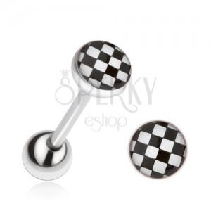 Ocelový piercing do jazyka, šachovnice