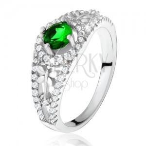 Čirý zirkonový prsten se zeleným kamínkem, vážky, stříbro 925