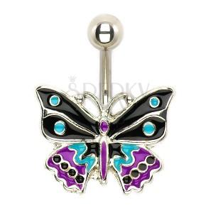 Ocelový piercing do pupíku, trojbarevný glazovaný motýl
