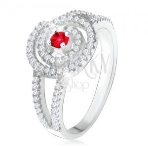Stříbrný 925 prsten, čirá zirkonová spirála, rubínový kamínek