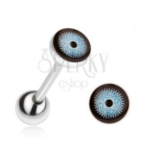 Ocelový piercing do jazyka, modročerné oko