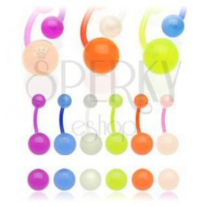 Piercing do pupíku s poloprůsvitnými kuličkami