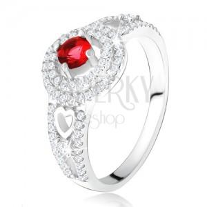 Prsten - červený kamínek s dvojitým zirkonovým lemem, srdce, ze stříbra 925