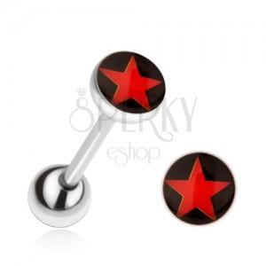 Ocelový piercing do jazyka, červená hvězda