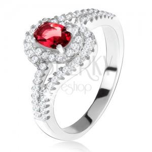 Stříbrný 925 prsten, červený kámen s lemem, zvlněná zirkonová ramena