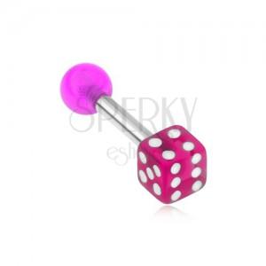 Piercing do tragu - fialová hrací kostka