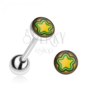 Piercing do jazyka z oceli, žluto-zelená hvězda
