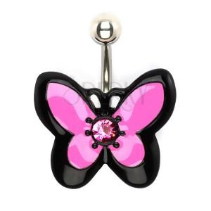 Piercing do bříška z oceli, růžovočerný motýl se zirkonem