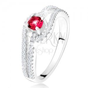 Prsten se zvlněnými zirkonovými rameny, červený kámen, stříbro 925