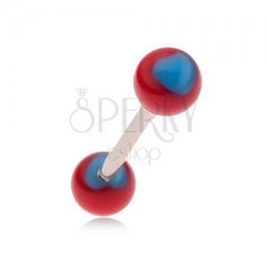 Piercing do jazyka s tmavě růžovými kuličkami, modrá srdce