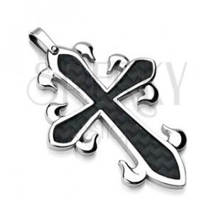 Přívěsek z chirurgické oceli - kříž s černým propleteným vzorem
