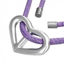 Přívěsek srdce na fialové šňůrce