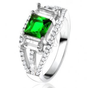 Prsten ze stříbra 925, čtvercový zelený zirkon, čiré obdélníkové kamínky