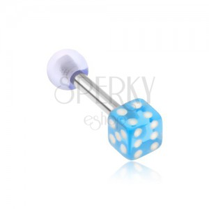 Ocelový piercing do tragu, akrylová hrací kostka, průhledná modrá