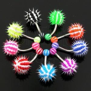 Piercing do pupíku z chirurgické oceli - barevný pruhovaný ježek