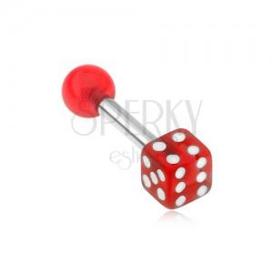Ocelový piercing do tragu - akrylová hrací kostka, červená, průhledná