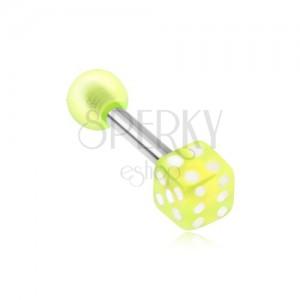 Ocelový piercing do tragu - akrylová neonově zelená hrací kostka