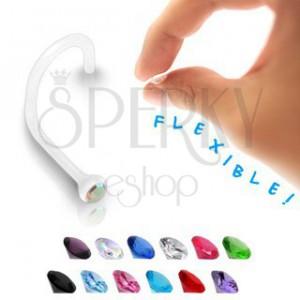 Piercing do nosu - transparentní BioFlex s barevným zirkonem