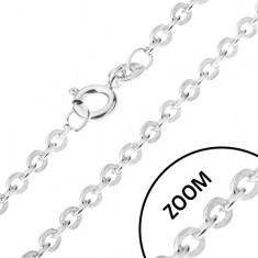 Řetízek s oválnými, kolmo napojovanými očky, stříbro 925, 1,4 mm
