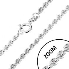 Řetízek ze stříbra 925, spirálovitě napojovaná očka, 1,4 mm
