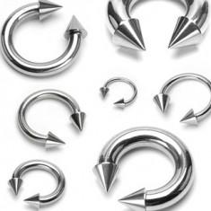 Piercing z chirurgické oceli, podkova s hroty