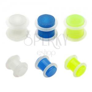 Plug do ucha z akrylu - průhledný s gumičkami