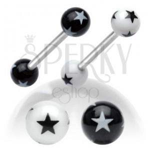 Ocelový piercing do jazyka, černobílé akrylové kuličky s hvězdičkami