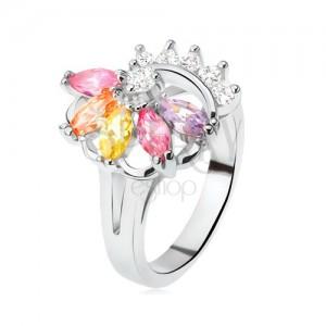 Prsten stříbrné barvy, vějíř z barevných kamínků, čiré zirkony