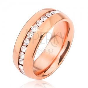 Prsten z chirurgické oceli růžovozlaté barvy, pás čirých zirkonů