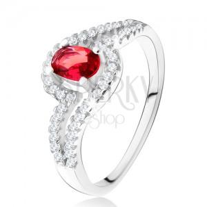 Prsten s oválným červeným kamenem, zvlněná zirkonová ramena, stříbro 925