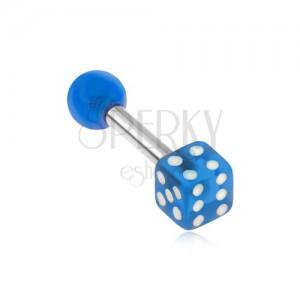 Ocelový piercing do tragu, akrylová průhledná modrá hrací kostka