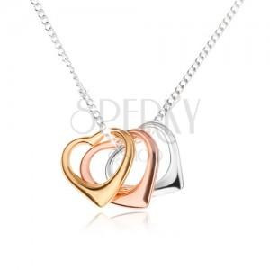Náhrdelník - tři kontury srdce a řetízek z drobných oček, stříbro 925