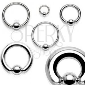 Piercing z chirurgické oceli - lesklý kroužek s kuličkou