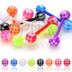Akrylový piercing do jazyka, barevné kuličky s motivem šachovnice
